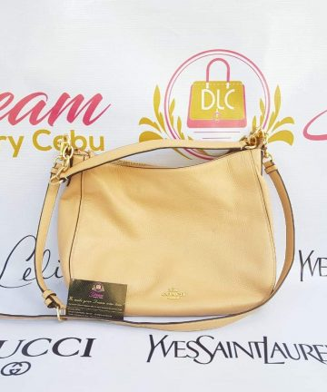 Authentic Coach Elle hobo bag in Avery nude beige leather