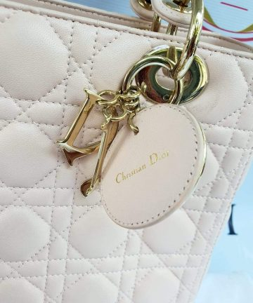 Authentic Lady Dior In light pink medium size preloved the baggery ph