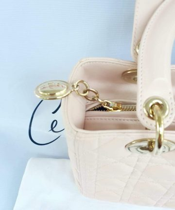 Authentic Lady Dior In light pink medium size preloved buy now pay later