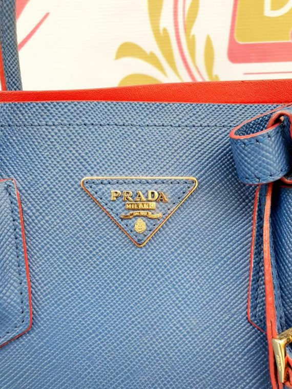 Authentic Prada saffiano cuir double in Bluette monthly payments