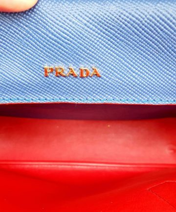 Authentic Prada saffiano cuir double in Bluette how much