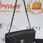 Authentic Chanel east west chain clutch in black caviar silver hardware philippines