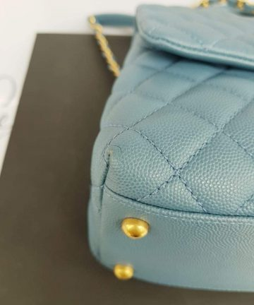 Authentic Chanel coco handle in blue Jean Matte gold hardware price