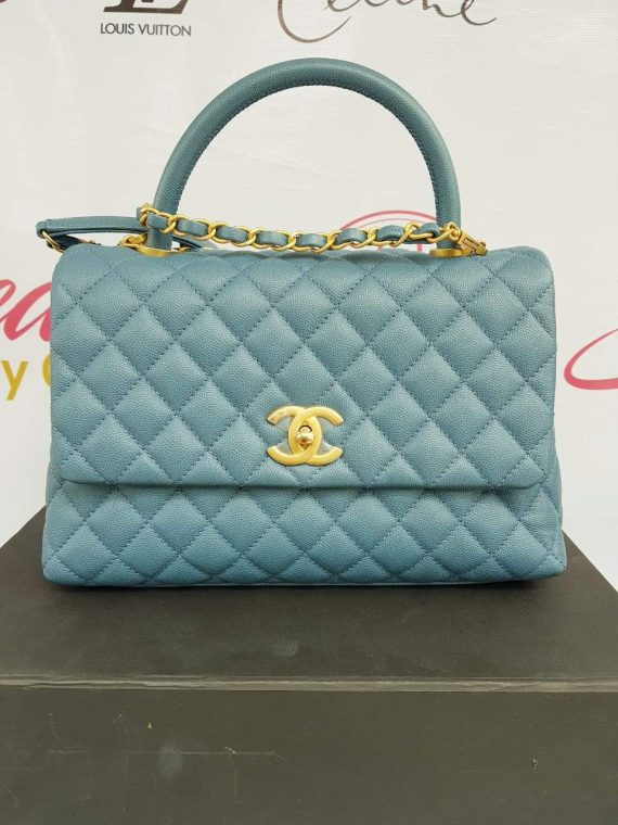 Authentic Chanel coco handle in blue Jean Matte gold hardware pawn online