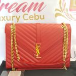 Authentic Ysl Saint Laurent monogramme envelope Large in caviar leather Gold hardware pawn online