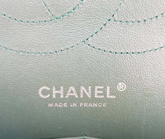 Authentic Chanel classic jumbo double clap in blue green Series 24 consignment