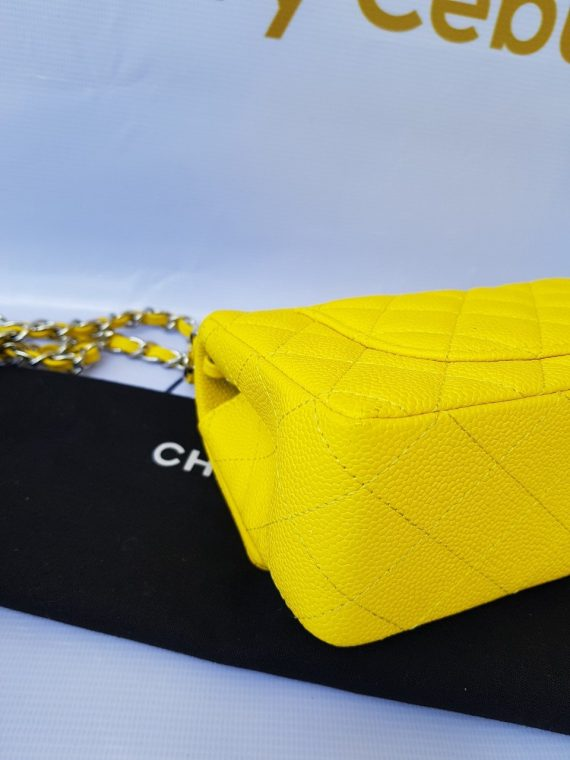Authentic Chanel Mini Flap Caviar in Yellow bagaholic