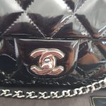 Authentic Chanel jumbo clutch black patent in silver hardware series 17 pawn online