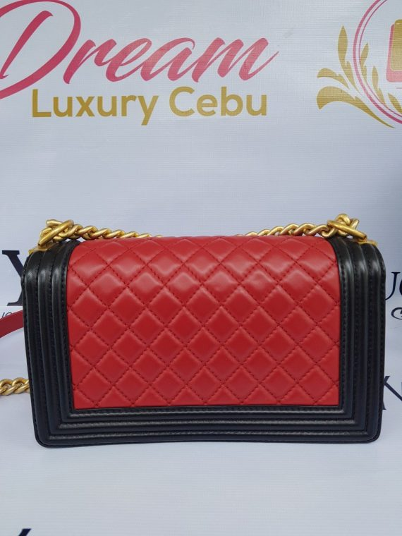 Authentic Chanel le boy bi color in lambskin leather matte gold hardware price