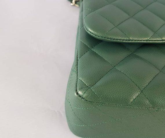Authentic Chanel classic jumbo double clap in blue green Series 24 price