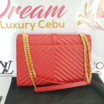 Authentic Ysl Saint Laurent monogramme envelope Large in caviar leather Gold hardware consignment