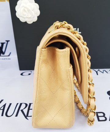 Authentic Chanel classic double flap medium in caviar leather Gold hardware pawn philippines