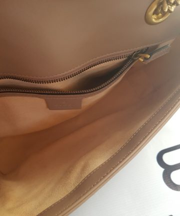 Brand new Authentic Gucci marmont flap in nude beige in antique gold Hardware pawn online