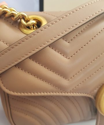 Brand new Authentic Gucci marmont flap in nude beige in antique gold Hardware cebu