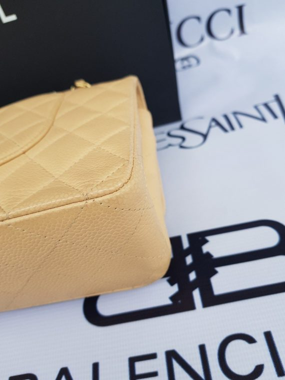 Authentic Chanel classic double flap medium in caviar leather Gold hardware buy and sell