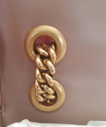Brand new Authentic Gucci marmont flap in nude beige in antique gold Hardware buy and sell