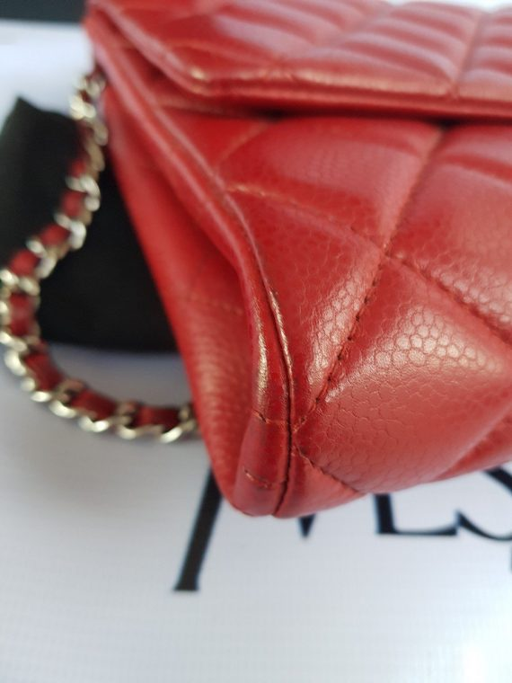 Authentic Chanel Jumbo Clutch Burgundy Red pawn online