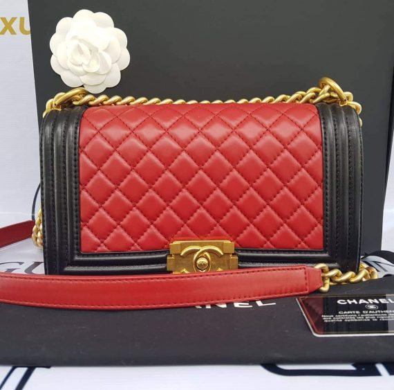 Authentic Chanel le boy bi color in lambskin leather matte gold hardware philippines
