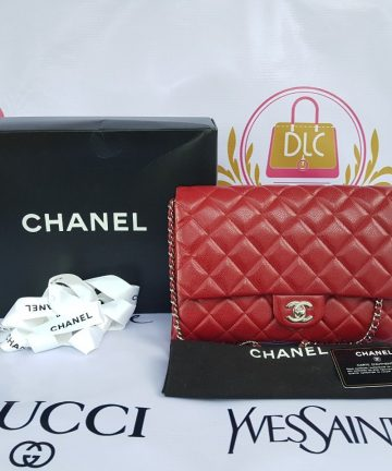 Authentic Chanel Jumbo Clutch Burgundy Red Philippines